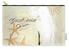 Coastal Waterways - Great White Egret 3 Carry-all Pouch by Audrey Jeanne Roberts