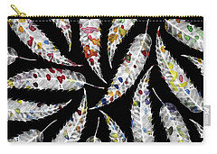 Colorful Black And White Leaves Carry-all Pouch by Susanne Kasielke