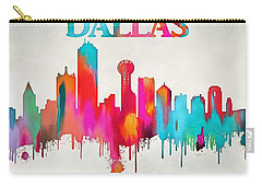 Colorful Dallas Skyline Silhouette Carry-all Pouch by Dan Sproul