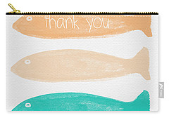 Colorful Fish Thank You Card Carry-all Pouch by Linda Woods