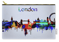 Colorful London Skyline Silhouette Carry-all Pouch by Dan Sproul
