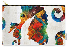 Colorful Seahorse Collage Art By Sharon Cummings Carry-all Pouch by Sharon Cummings