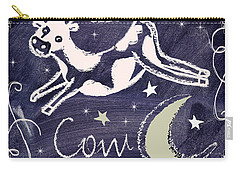 Cow Jumped Over The Moon Chalkboard Art Carry-all Pouch by Mindy Sommers