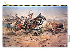 Cowboys Roping A Steer Carry-all Pouch by Charles Marion Russell