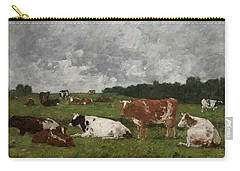 Cows At The Pasture Carry-all Pouch by Eugene Louis Boudin