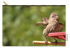 Crossbill Female At Feeder        Summer       Indiana Carry-all Pouch by Rory Cubel