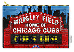 Cubs Win Wrigley Field Chicago Illinois Recycled Vintage License Plate Baseball Team Art Carry-all Pouch by Design Turnpike