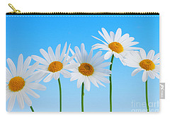 Daisy Flowers On Blue Carry-all Pouch by Elena Elisseeva