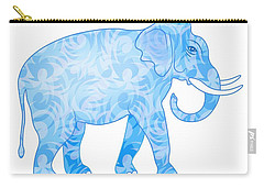 Damask Pattern Elephant Carry-all Pouch by Antique Images