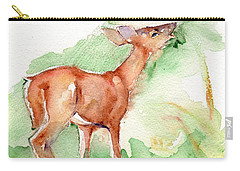 Deer Painting In Watercolor Carry-all Pouch by Maria's Watercolor