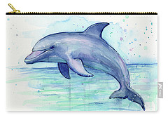 Dolphin Watercolor Carry-all Pouch by Olga Shvartsur