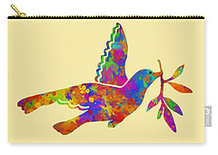 Dove With Olive Branch Carry-all Pouch by Christina Rollo