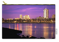 Downtown Tulsa Oklahoma - University Tower View - Purple Skies Carry-all Pouch by Gregory Ballos