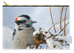 Downy Woodpecker  Carry-all Pouch by Ken Everett