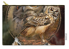 Dream Catcher - Spirit Of The Owl Carry-all Pouch by Carol Cavalaris