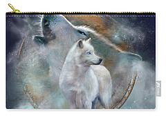 Dream Catcher - Spirit Of The White Wolf Carry-all Pouch by Carol Cavalaris