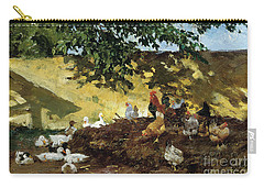 Ducks And Chickens In A Farmyard Carry-all Pouch by Tina Blau-Lang