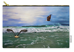Eagles At Sea Wildlife Art Carry-all Pouch by Jai Johnson