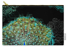 Elegant Peacock W Vintage Scrolls 3 Carry-all Pouch by Audrey Jeanne Roberts