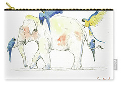 Elephant And Parrots Carry-all Pouch by Juan Bosco