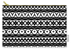 Fair Isle Black And White Carry-all Pouch by Rachel Follett