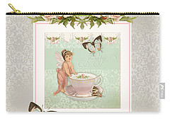Fairy Teacups - Flutterbye Butterflies And English Rose Damask Carry-all Pouch by Audrey Jeanne Roberts