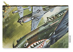Famous Aircraft And Their Pilots Carry-all Pouch by Wilf Hardy