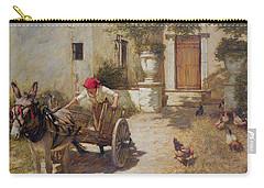 Farm Yard Scene Carry-all Pouch by Henry Herbert La Thangue