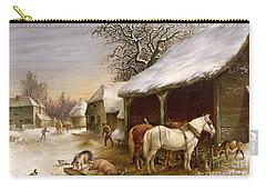Farmyard In Winter  Carry-all Pouch by Henry Woollett