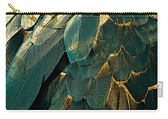 Feather Glitter Teal And Gold Carry-all Pouch by Mindy Sommers