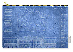 Fenway Park Blueprints Home Of Baseball Team Boston Red Sox On Worn Parchment Carry-all Pouch by Design Turnpike