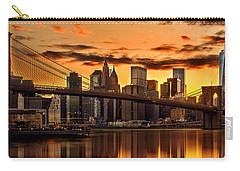 Fiery Sunset Over Manhattan  Carry-all Pouch by Az Jackson