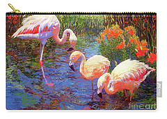 Flamingos, Tangerine Dream Carry-all Pouch by Jane Small