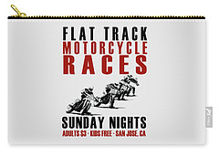 Flat Track Motorcycle Races Carry-all Pouch by Mark Rogan