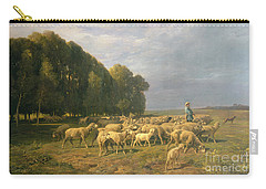 Flock Of Sheep In A Landscape Carry-all Pouch by Charles Emile Jacque