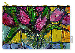 Floral Miniature - Abstract 0615 - Pink Tulips Carry-all Pouch by Mona Edulesco