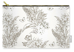 French Floral With Butterflies Carry-all Pouch by Stephanie Davies