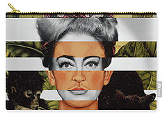 Frida Kahlo And Joan Crawford Carry-all Pouch by Luigi Tarini