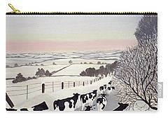 Friesians In Winter Carry-all Pouch by Maggie Rowe