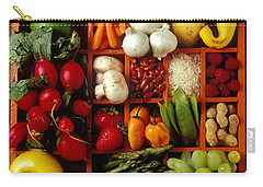 Fruits And Vegetables In Compartments Carry-all Pouch by Garry Gay