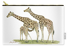Giraffe Family Carry-all Pouch by Juan Bosco