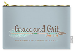 Grace And Grit Logo Carry-all Pouch by Elizabeth Taylor