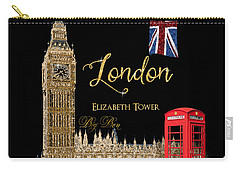 Great Cities London - Big Ben British Phone Booth Carry-all Pouch by Audrey Jeanne Roberts