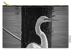 Great White Heron In Black And White Carry-all Pouch by Garry Gay