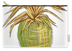 Green Gold Pineapple Painting Illustration Aroon Melane 2015 Collection By Madart Carry-all Pouch by Megan Duncanson