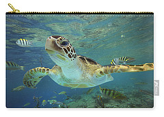 Green Sea Turtle Chelonia Mydas Carry-all Pouch by Tim Fitzharris