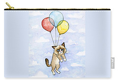 Grumpy Cat And Balloons Carry-all Pouch by Olga Shvartsur