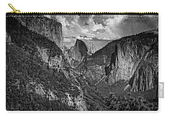 Half Dome And El Capitan In Black And White Carry-all Pouch by Rick Berk