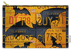 Halloween Bats Recycled Vintage License Plate Art Carry-all Pouch by Design Turnpike