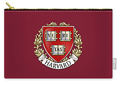 Harvard University Seal - Coat Of Arms Over Colours Carry-all Pouch by Serge Averbukh